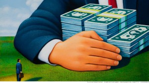 Small businessman looking at giant businessman holding stacks of money