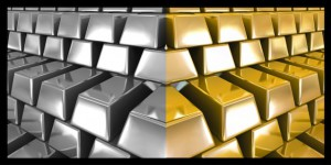 Gold and silver bars. Vector illustration