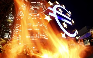 In this photo taken with a fisheye lens, flames from a fire set alight in a container by activists with the Frankfurt Occupy movement are seen in front of the European Central Bank and a sculpture of the euro symbol in Frankfurt, Germany, Monday, Nov. 21, 2011. (AP Photo/Michael Probst)