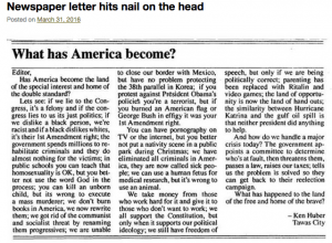 Newspaper letter-What has America become